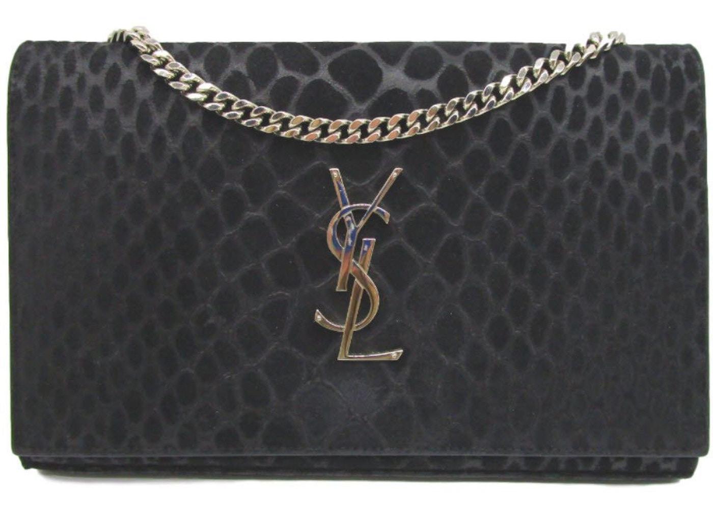 9e5bbb085f Saint Laurent Monogram Chain Wallet Suede Crocodile Medium Black