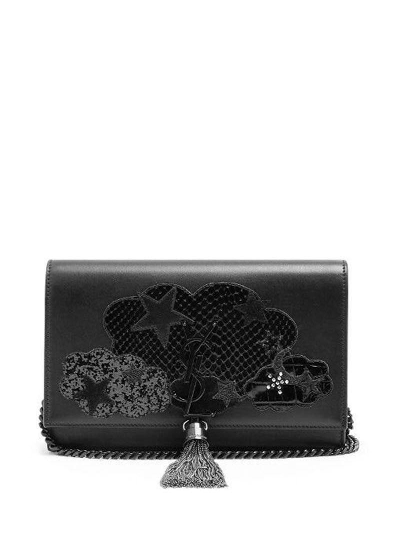 Saint Laurent Monogram Kate Cloud Glitter Small Black