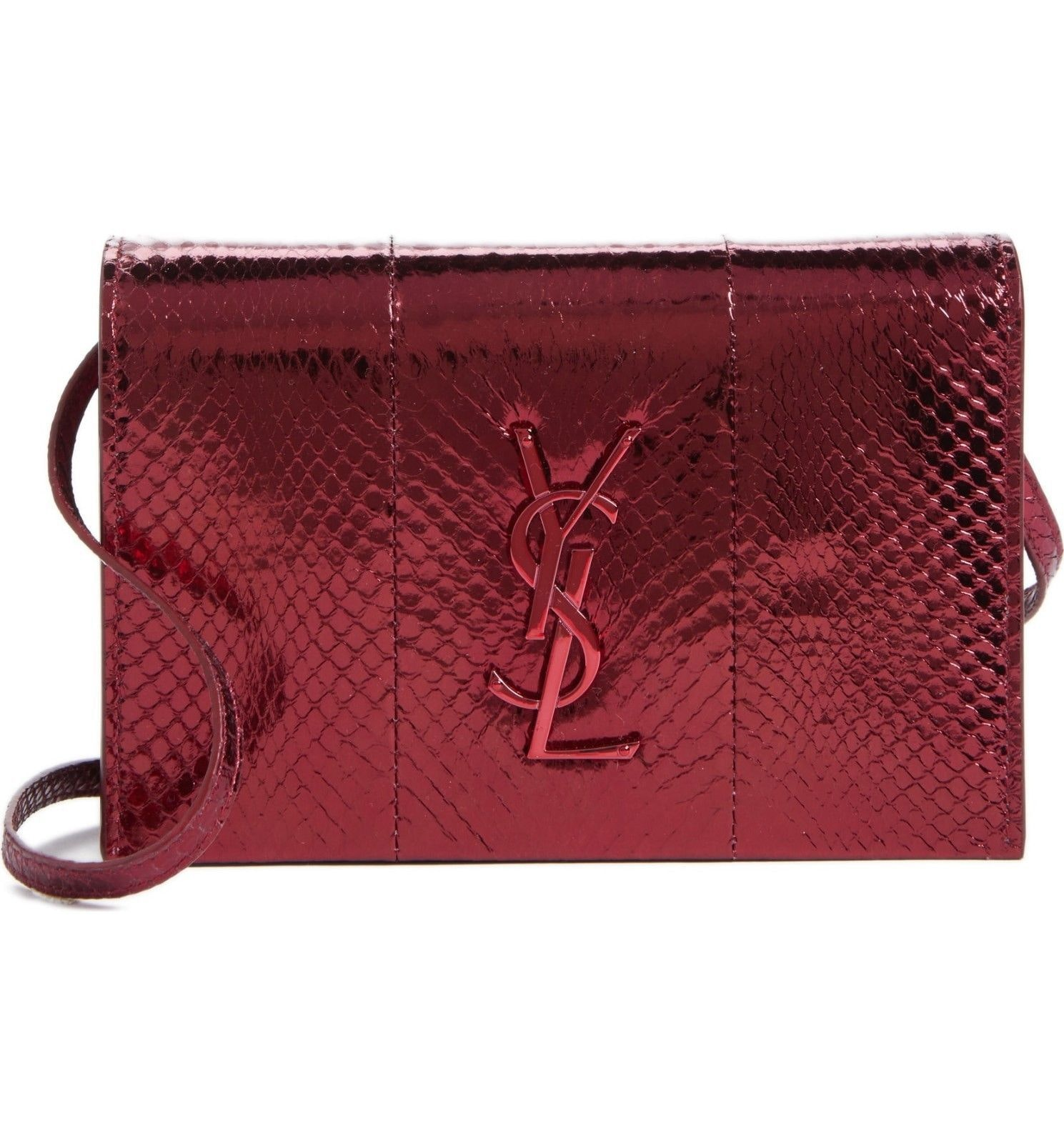 Saint Laurent Monogram Kate Toy Metallic Red