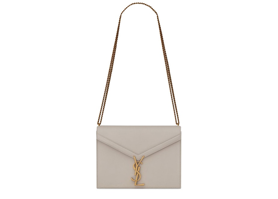Saint Laurent Monogram Slider Cassandra Bag Calfskin Gold-tone Medium White
