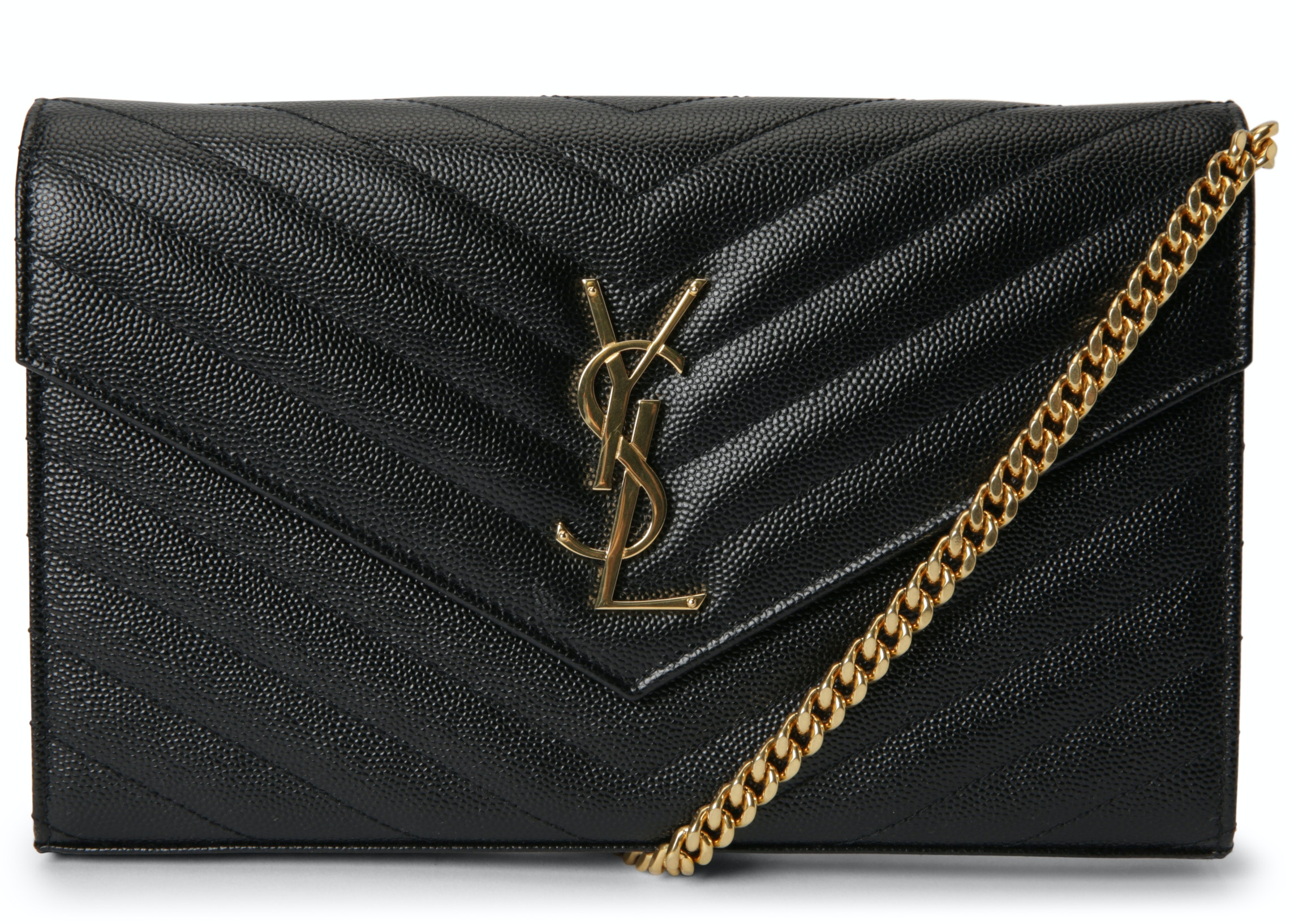 Saint Laurent Monogram Wallet on Chain Crossbody Matelasse Large Black