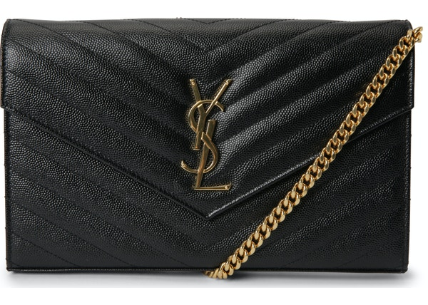 Saint Laurent Monogram Wallet on Chain Crossbody Matelasse Large Black b36de524540d8