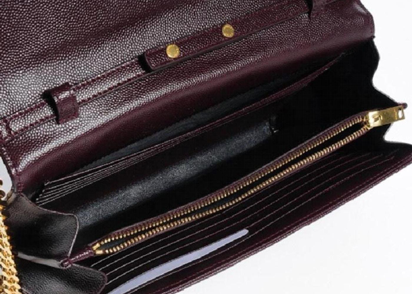 Saint Laurent Monogram Chain Wallet Large Matelasse Black