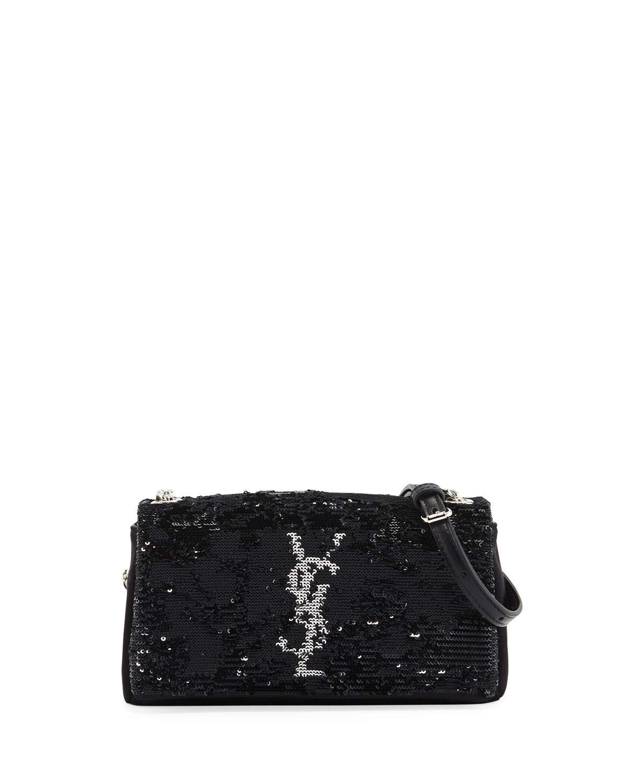 Saint Laurent Monogram YSL Toy West Hollywood Sequin Black