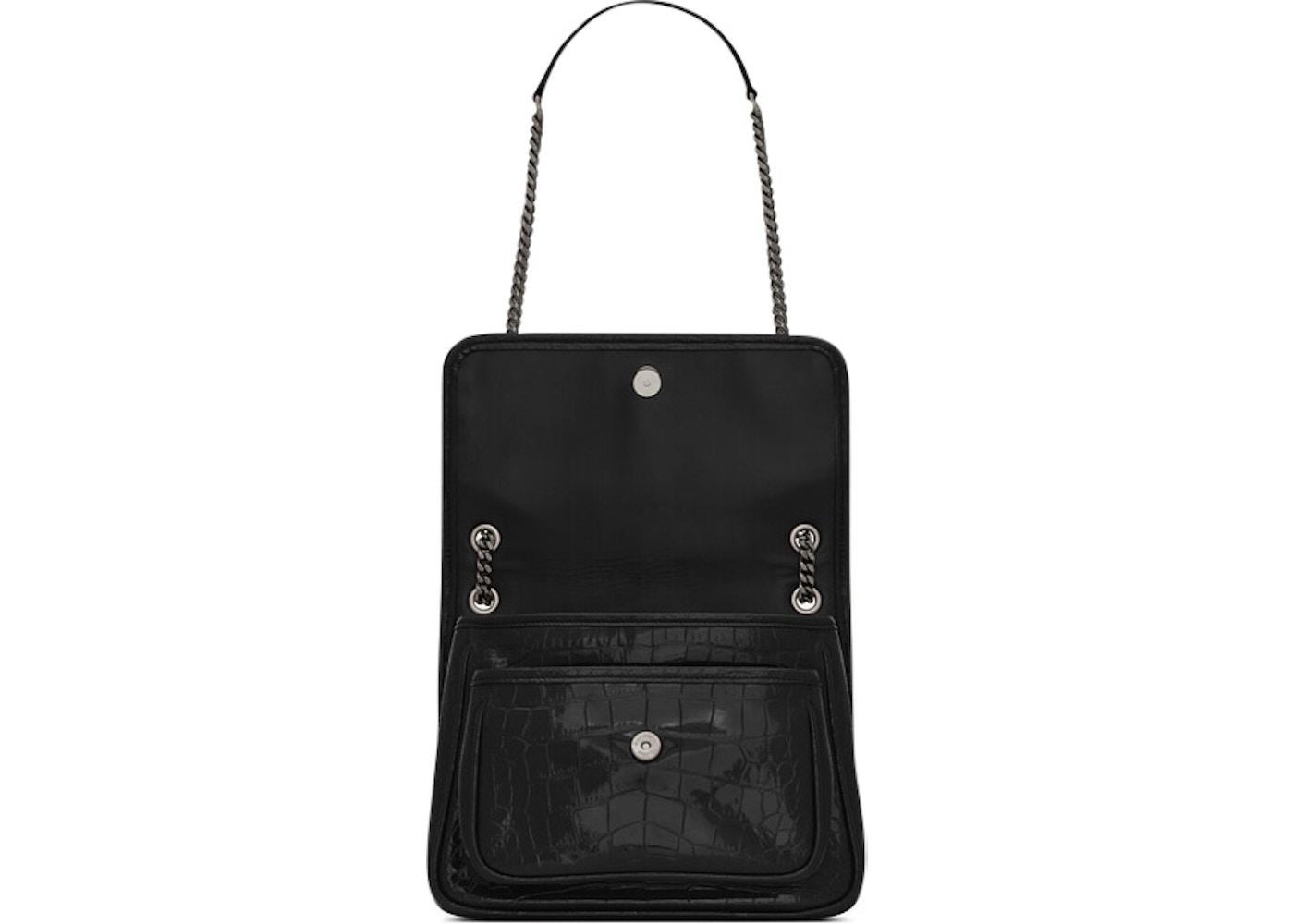 0f5e2942cc4 Saint Laurent Niki Shoulder Bag Crocodile Embossed Patent Leather Baby Black