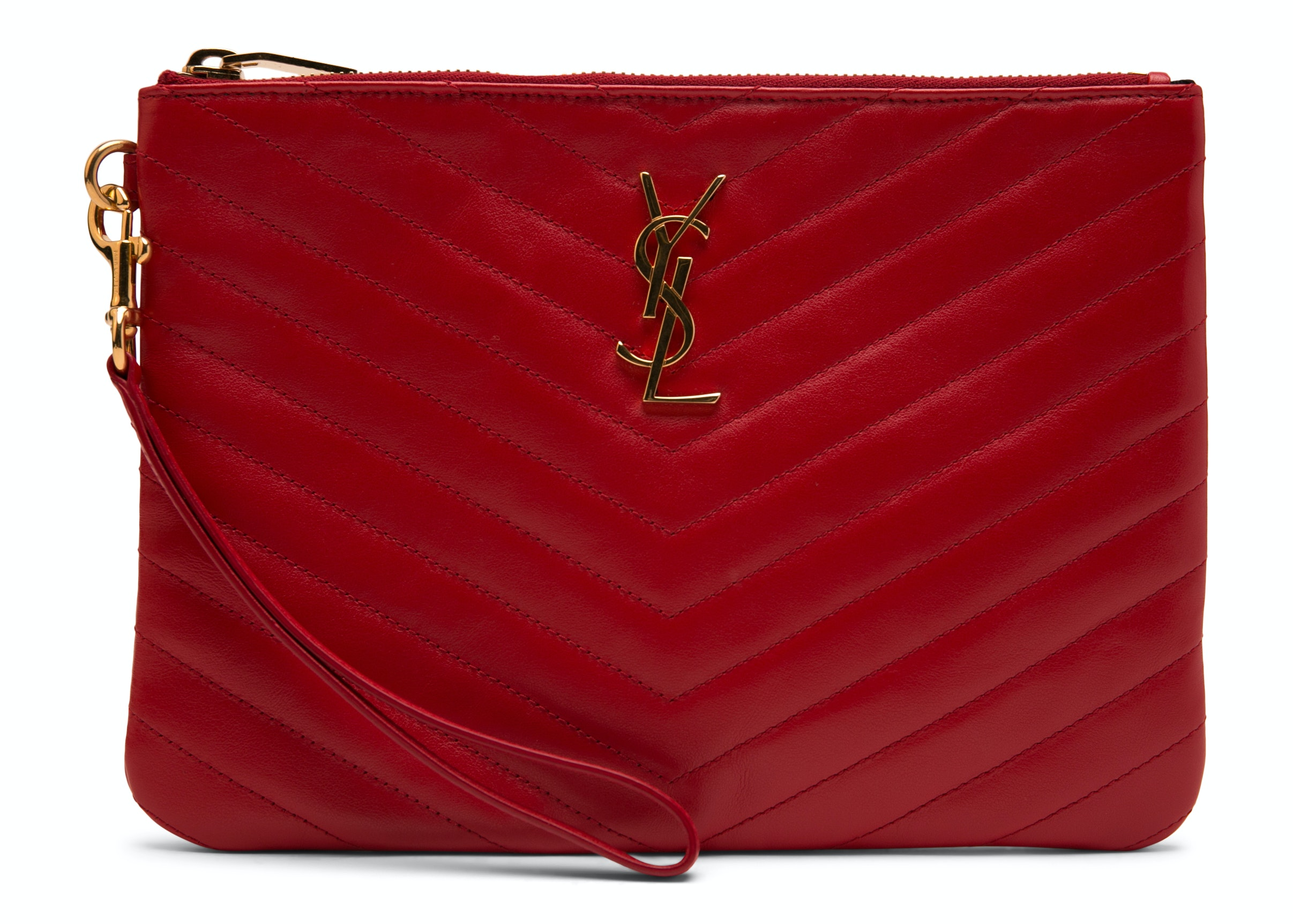 Saint Laurent Quilted Wristlet Pouch Red