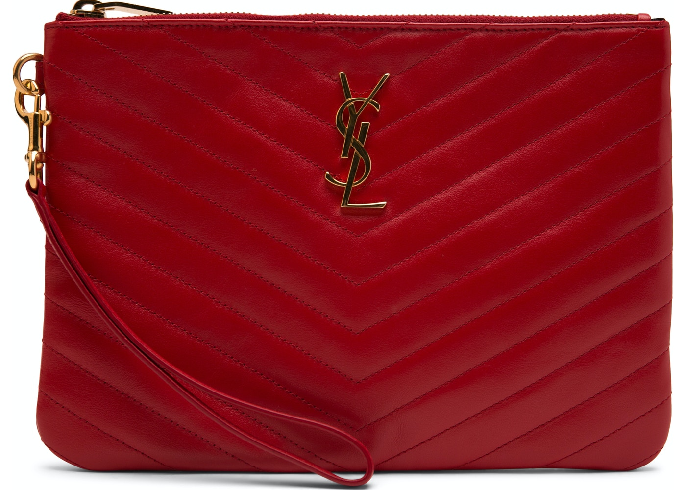 Sell. or Ask. View All Bids. Saint Laurent Quilted Wristlet Pouch Red 973f2f92bb27c