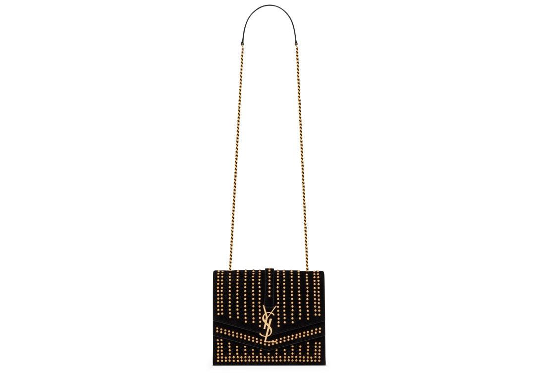 Saint Laurent Sulpice Shoulder Bag Studded Suede Medium Black