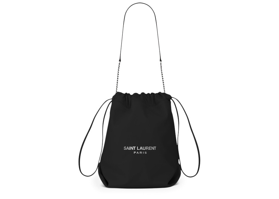 Saint Laurent Teddy Drawstring Bag Smooth Leather Black