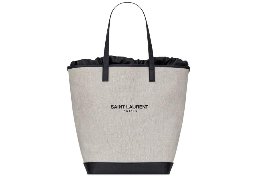 Saint Laurent Teddy Shopping Bag Linen Canvas Beige