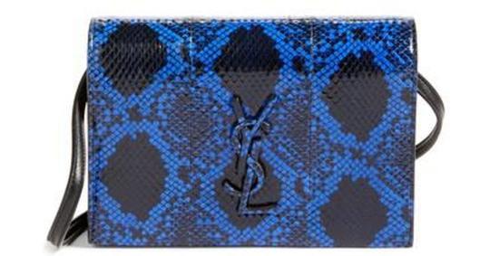 Saint Laurent Toy Kate Shoulder Bag Snakeskin Ruthenium-tone Mini Blue/Black