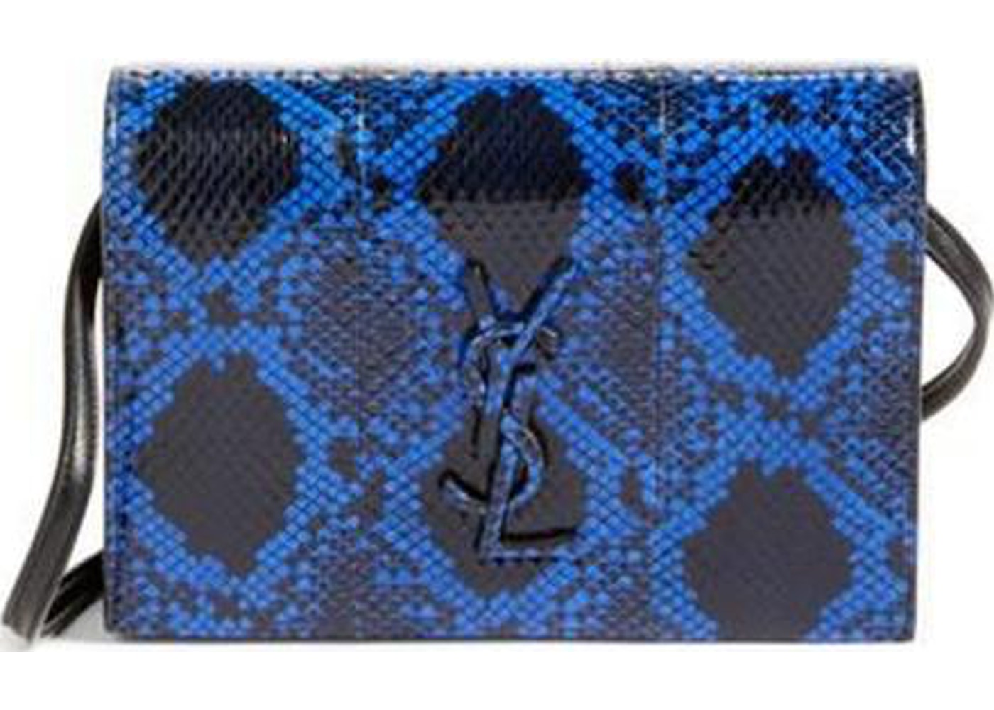 84c935986cf4 Saint Laurent Toy Kate Shoulder Bag Snakeskin Ruthenium-tone Mini  Blue Black. Snakeskin Ruthenium-tone Mini Blue Black
