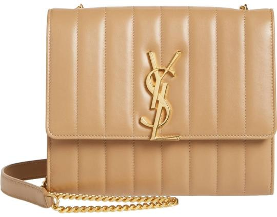 Saint Laurent Vicky Chain Wallet Quilted Nude