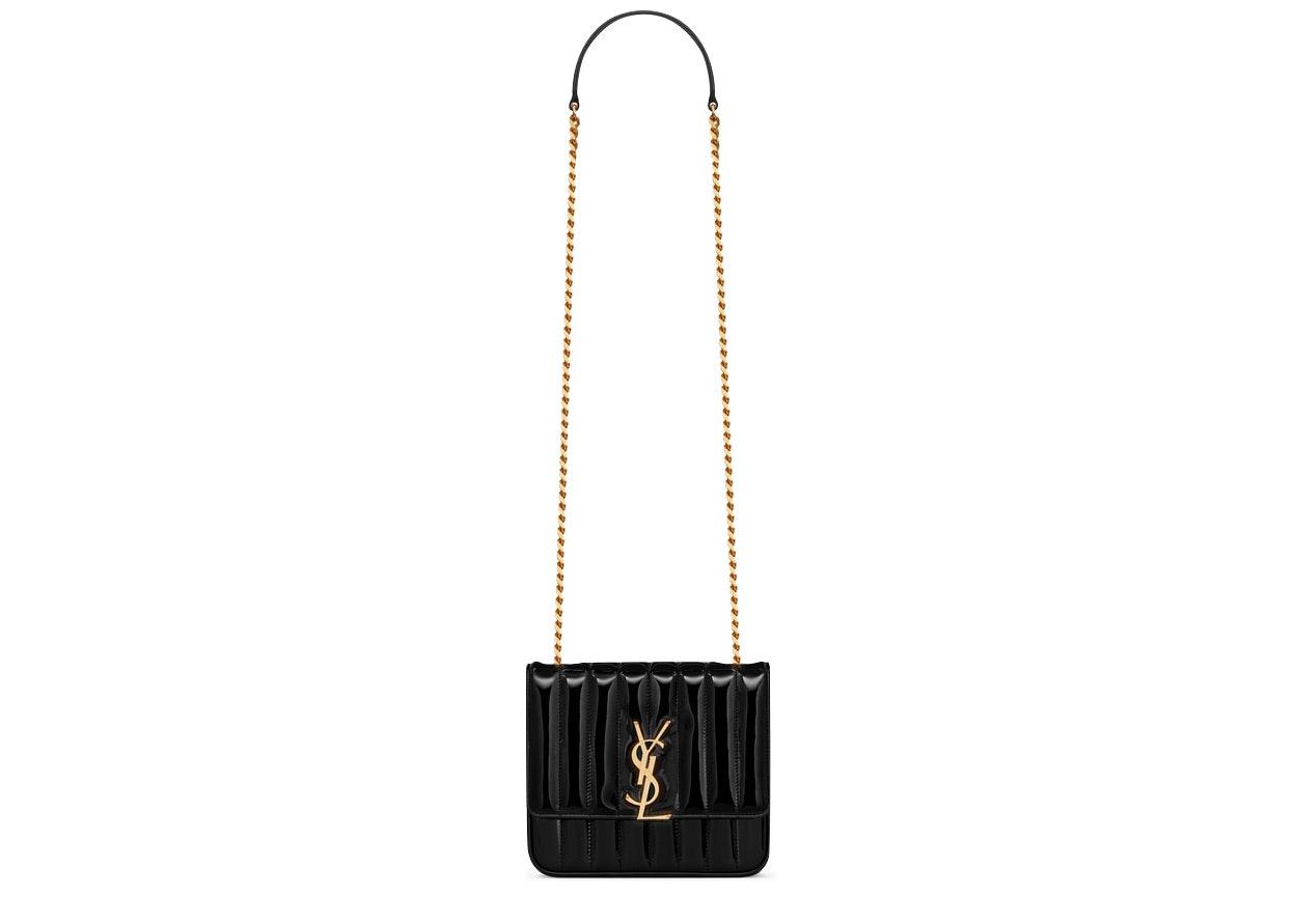 Saint Laurent Vicky Crossbody Matelasse Patent Leather Medium Black