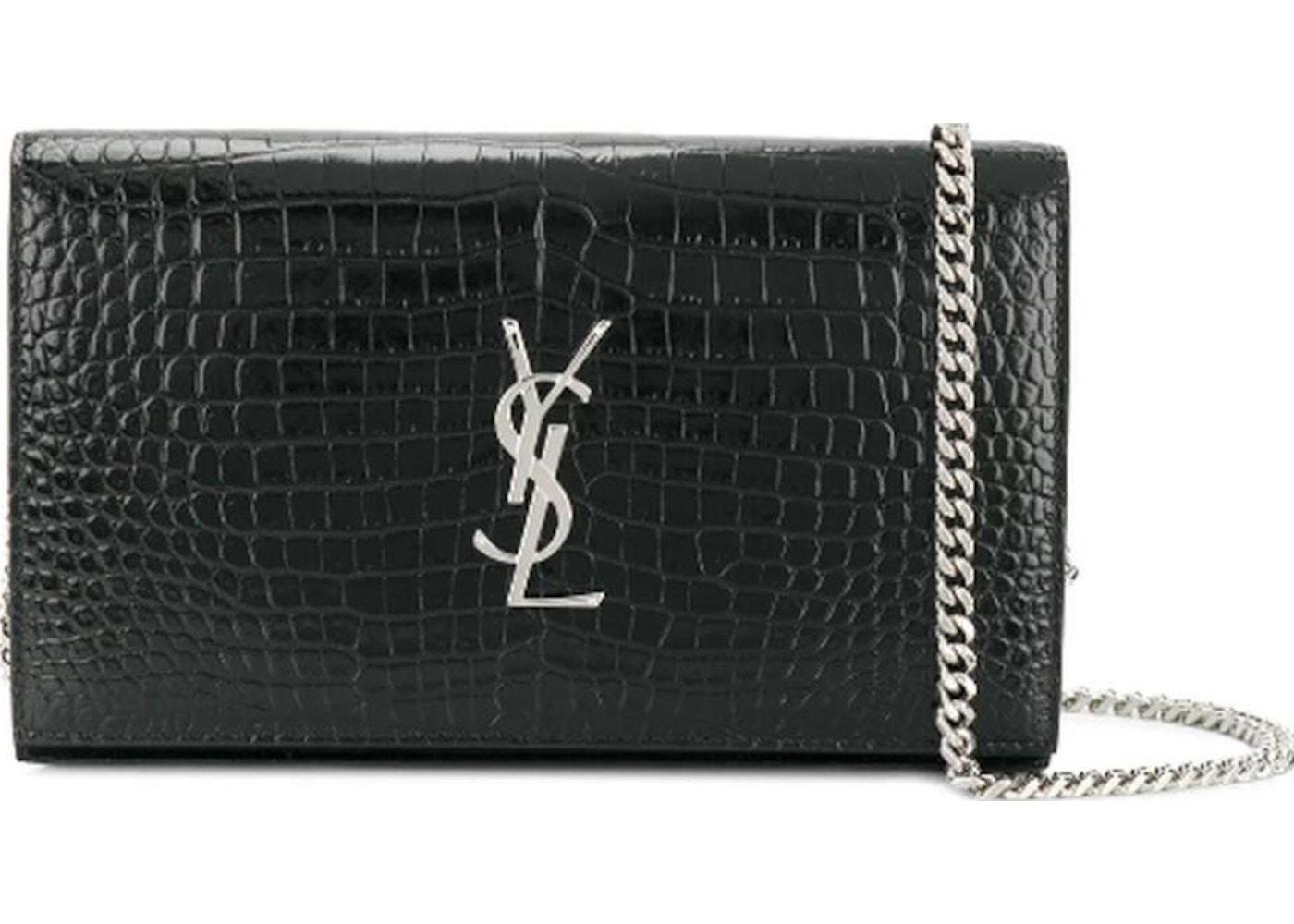 fddde94574 Saint Laurent Wallet on Chain Monogram Crocodile Black