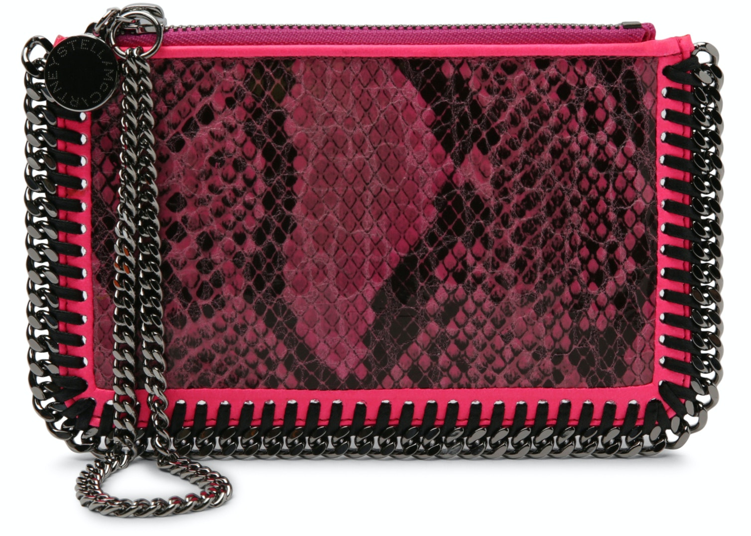Stella McCartney Falabella Clutch Faux Python Mini Pink