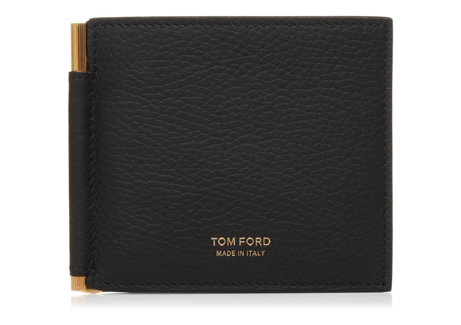 Tom Ford T Line Bi-Fold Money Clip Wallet Black