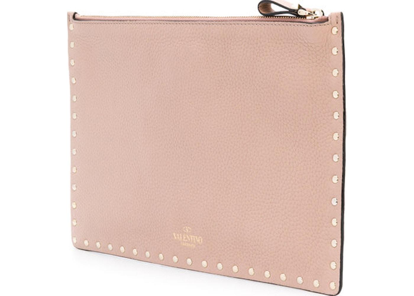 ccba2c8d12e2 Valentino Clutch Rockstud Smooth Pink