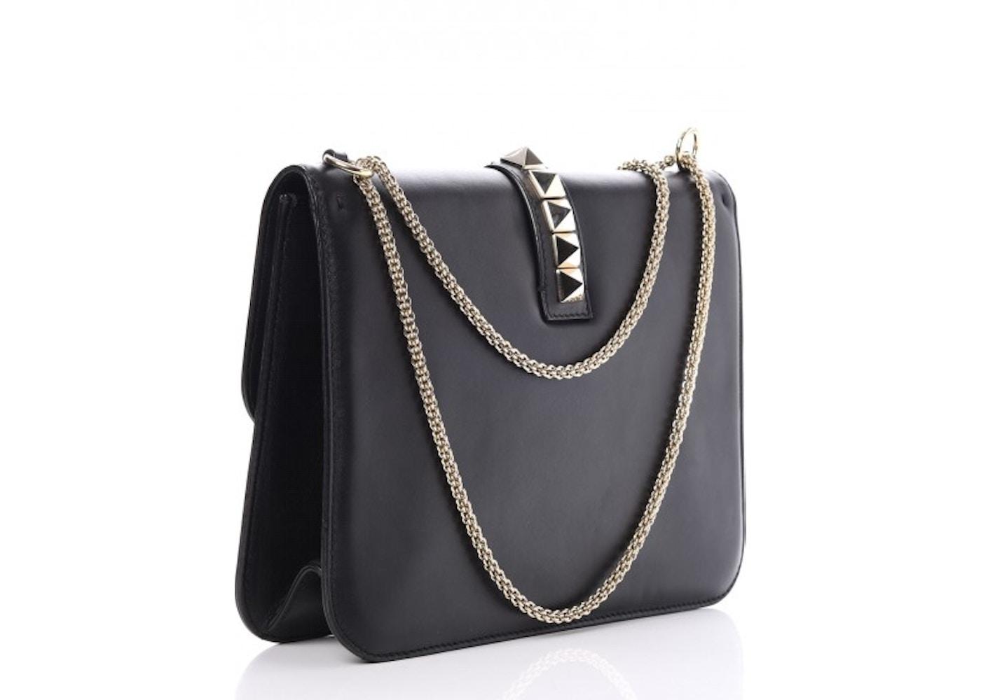 a745d5bb0ca1 Valentino Glam Lock Rockstud Flap Large Black