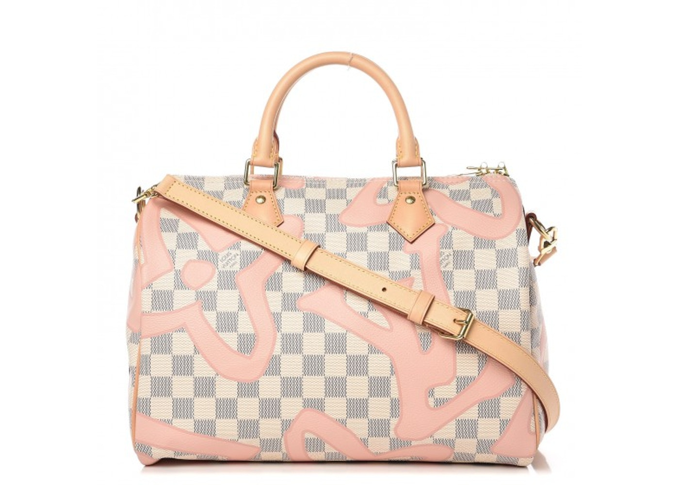 outlet boutique comfortable feel classic style Louis Vuitton Speedy Bandouliere Damier Azur Tahitienne 30 Rose Ballerine