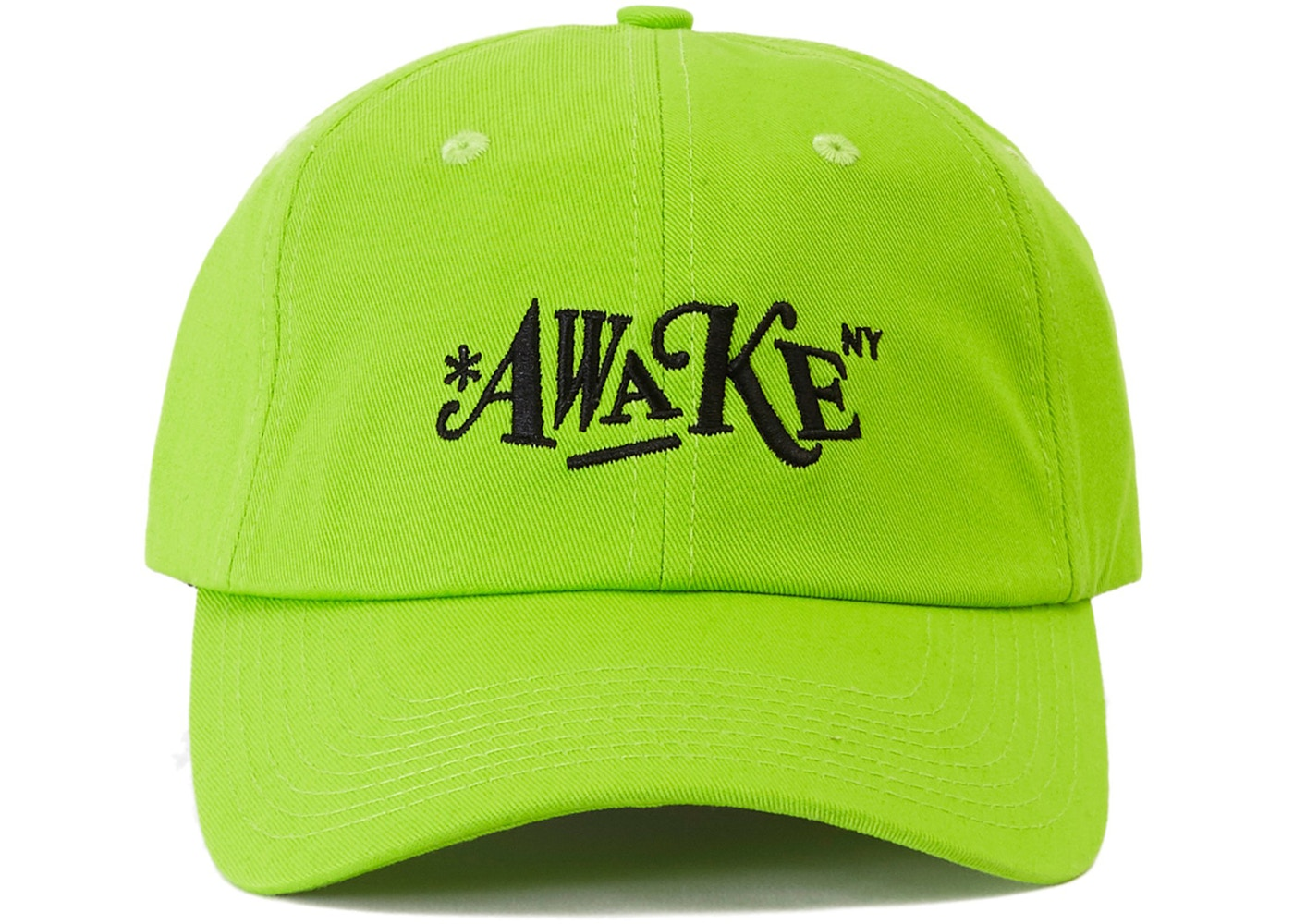 7b3bf9a3 Awake Distorted Logo Dad Cap Lime Green - SS19