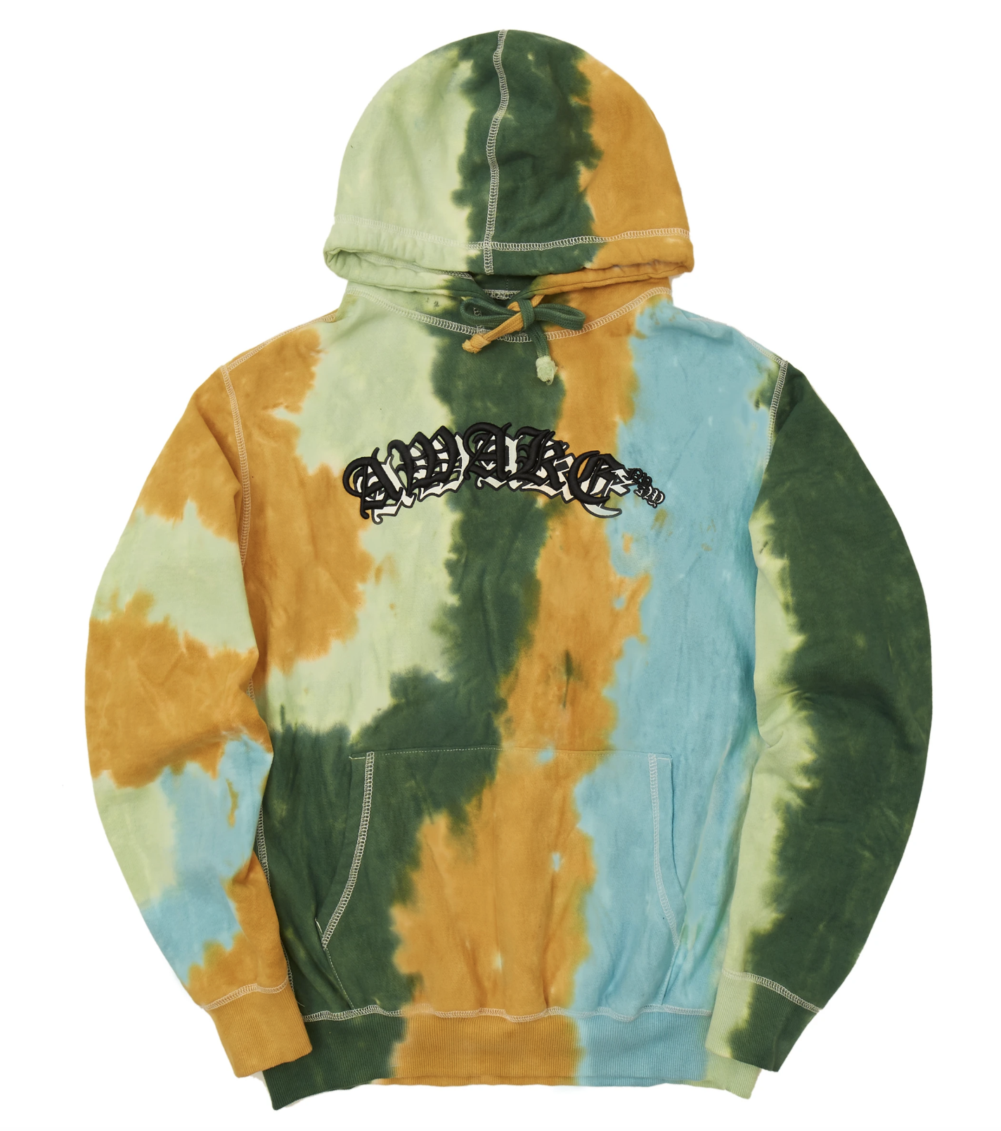 Awake Embroidered Double Varsity Hoodie Multi Tie Dye