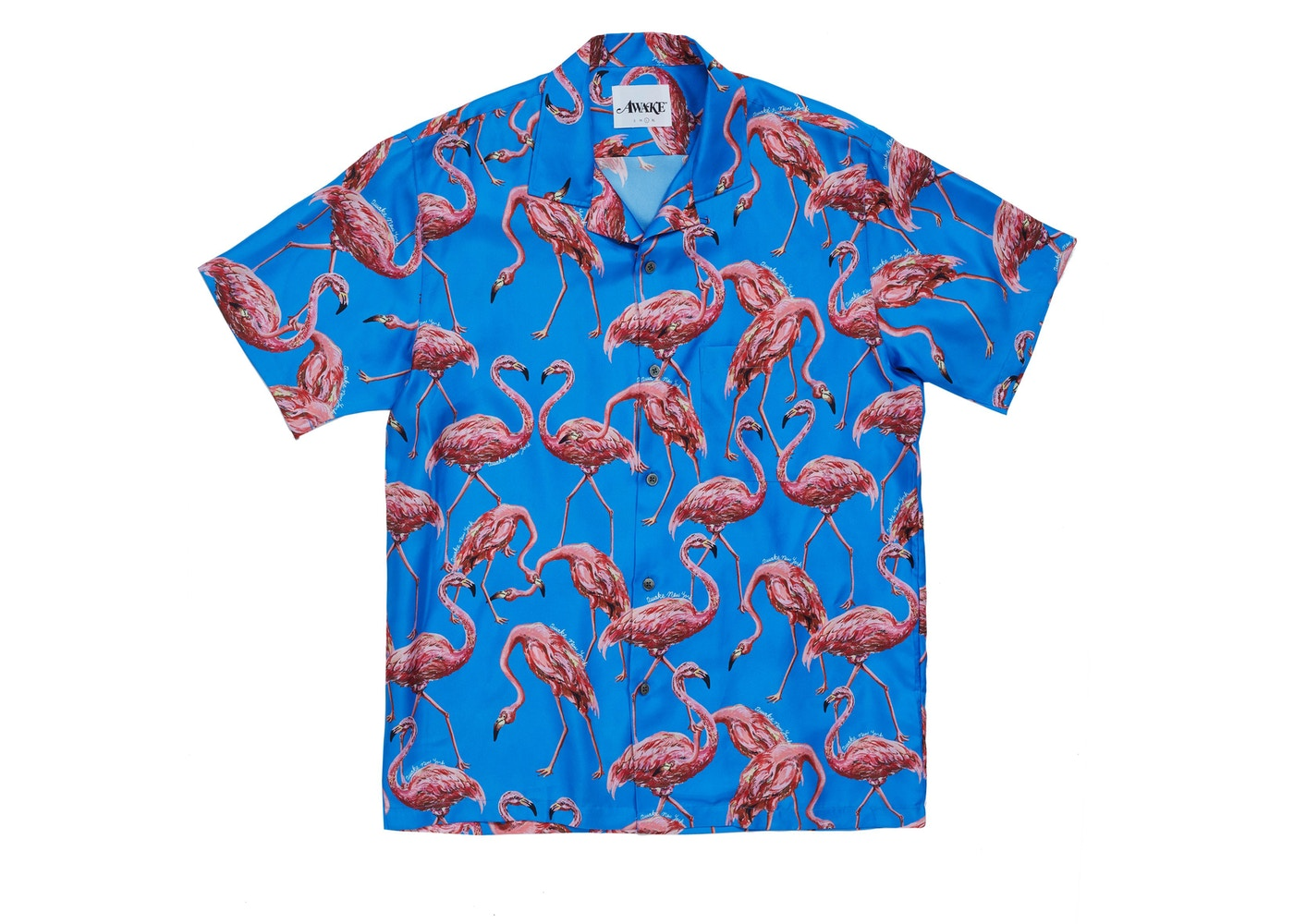 c95f22fe32 Awake Silk Flamingo Print Camp Shirt Blue