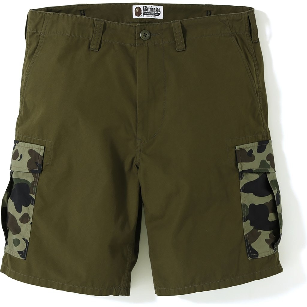 BAPE 1st Camo 6 Pocket Shorts Olive