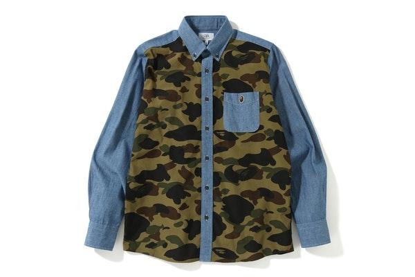 BAPE 1st Camo Chambray BD Shirt Blue/Green