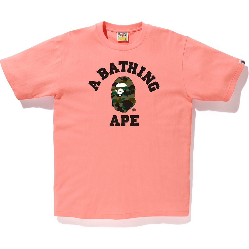 BAPE 1st Camo College Tee Pink/Green