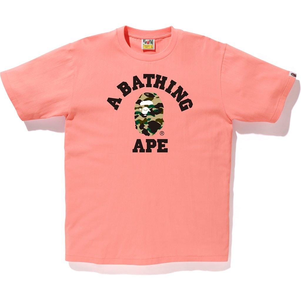 BAPE 1st Camo College Tee Pink/Yellow