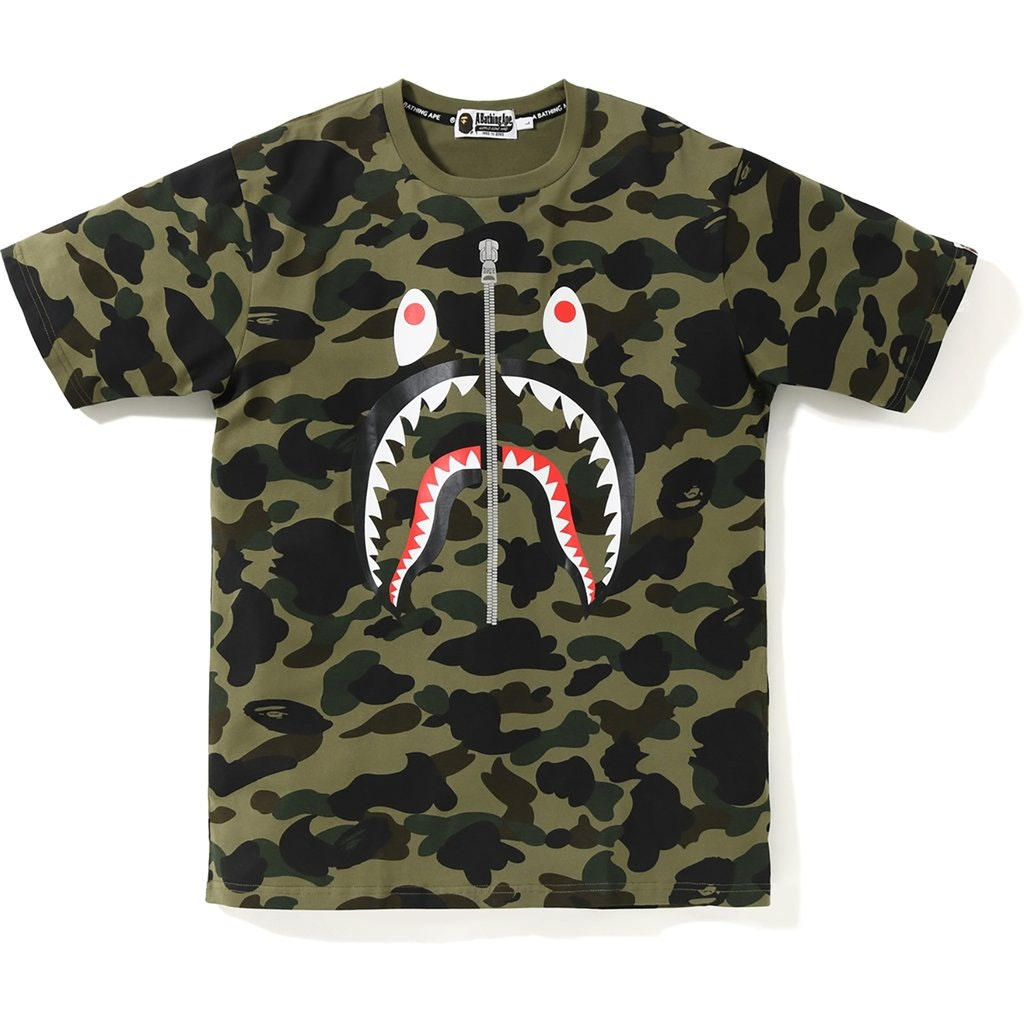 BAPE 1st Camo PONR Shark Tee Green