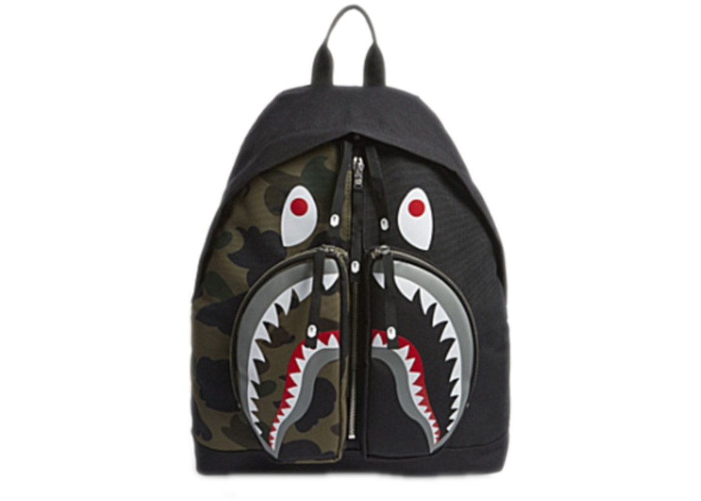 Bape Shark Backpack >> Bape 1st Camo Shark Day Pack Green Ss18