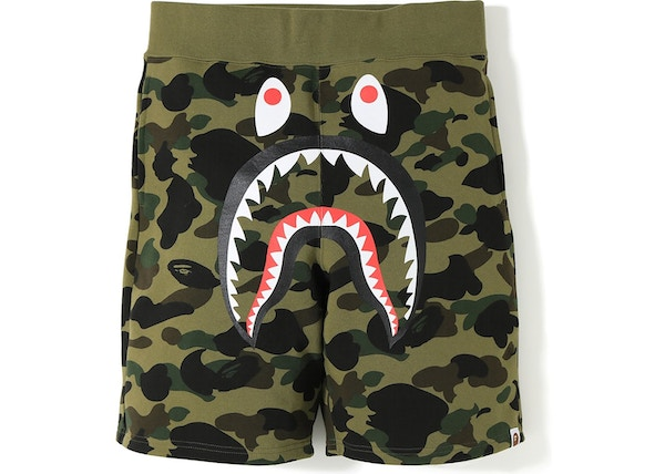 e535b5eba5 BAPE 1st Camo Shark Sweat Shorts Green