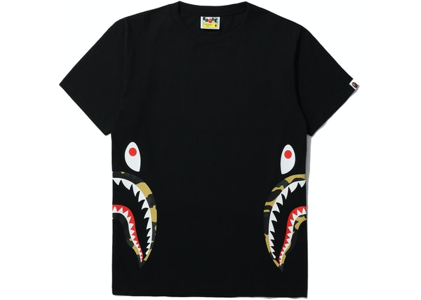 37473d236 BAPE 1st Camo Side Shark Tee Black/Yellow