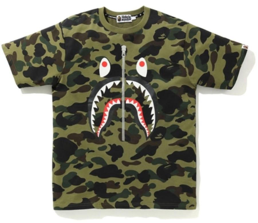 Bape Top Contrast Color Camo Shark Series A Bathing Ape T-Shirt Back WGM Tee New
