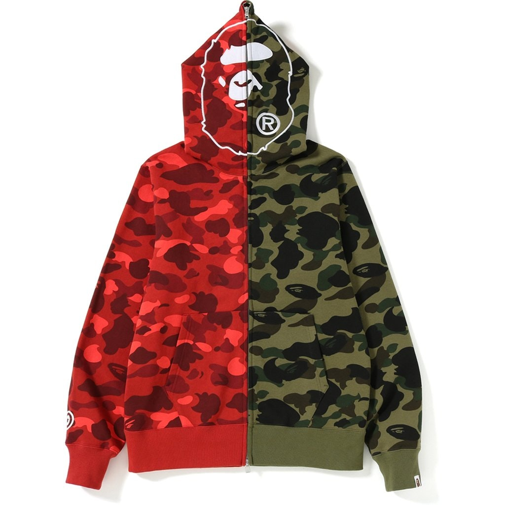 BAPE 1st x Color Camo 2nd Ape Half Full Zip Hoodie Green/Red