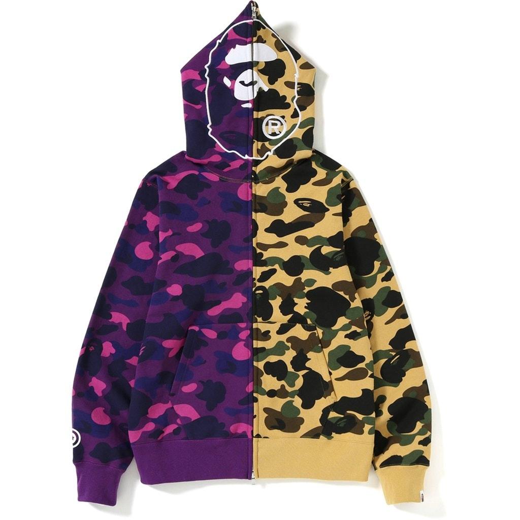BAPE 1st x Color Camo 2nd Ape Half Full Zip Hoodie Yellow/Purple