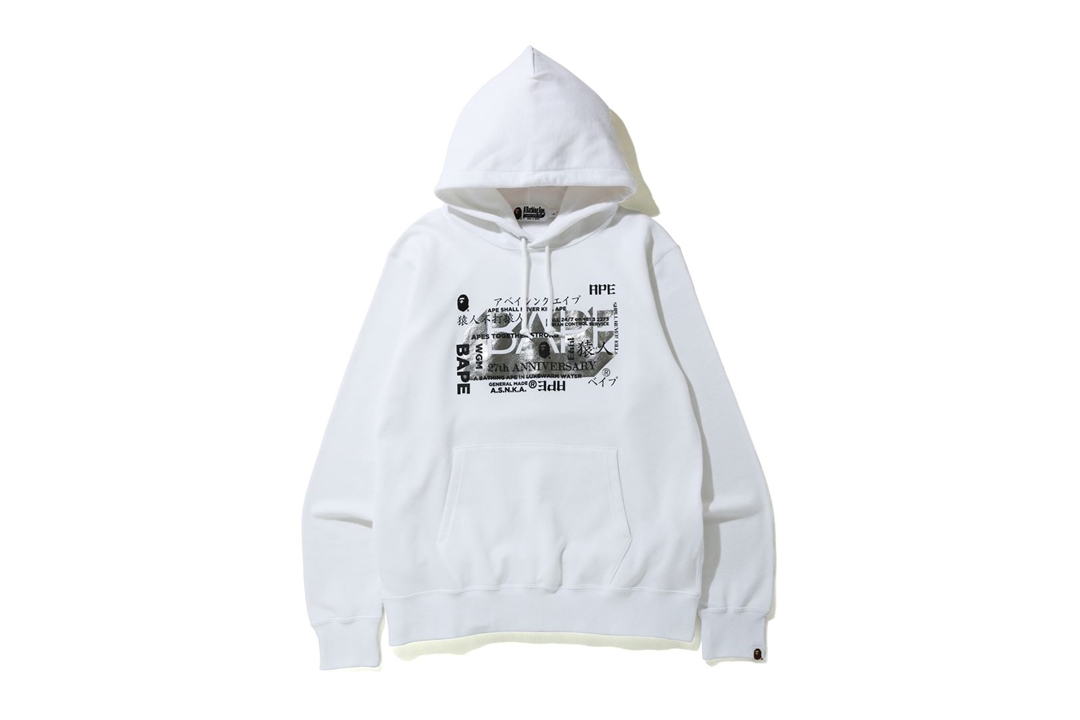 BAPE 27th Anniversary Foil Wide Pullover Hoodie White