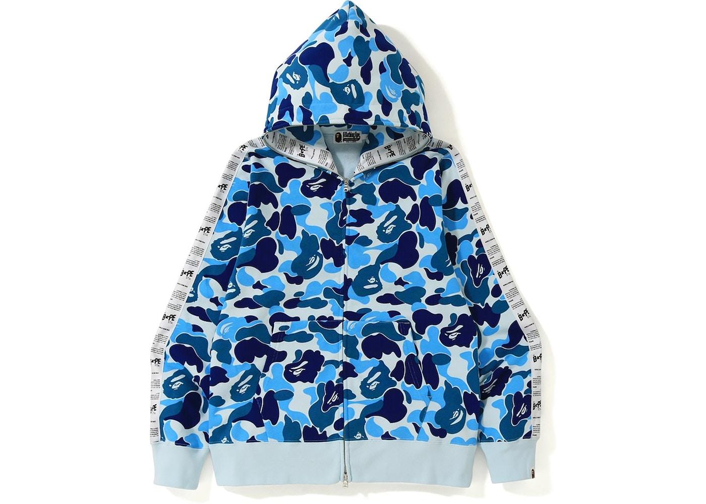 f2785156 BAPE ABC Bape Sta Tape Full Zip Hoodie Blue - FW19