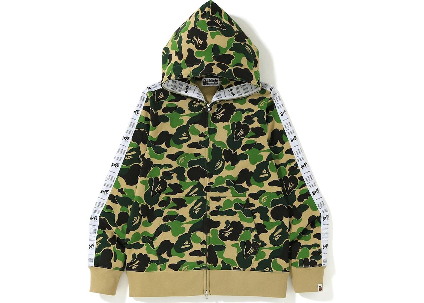 70979d5b BAPE ABC Bape Sta Tape Full Zip Hoodie Green - FW19