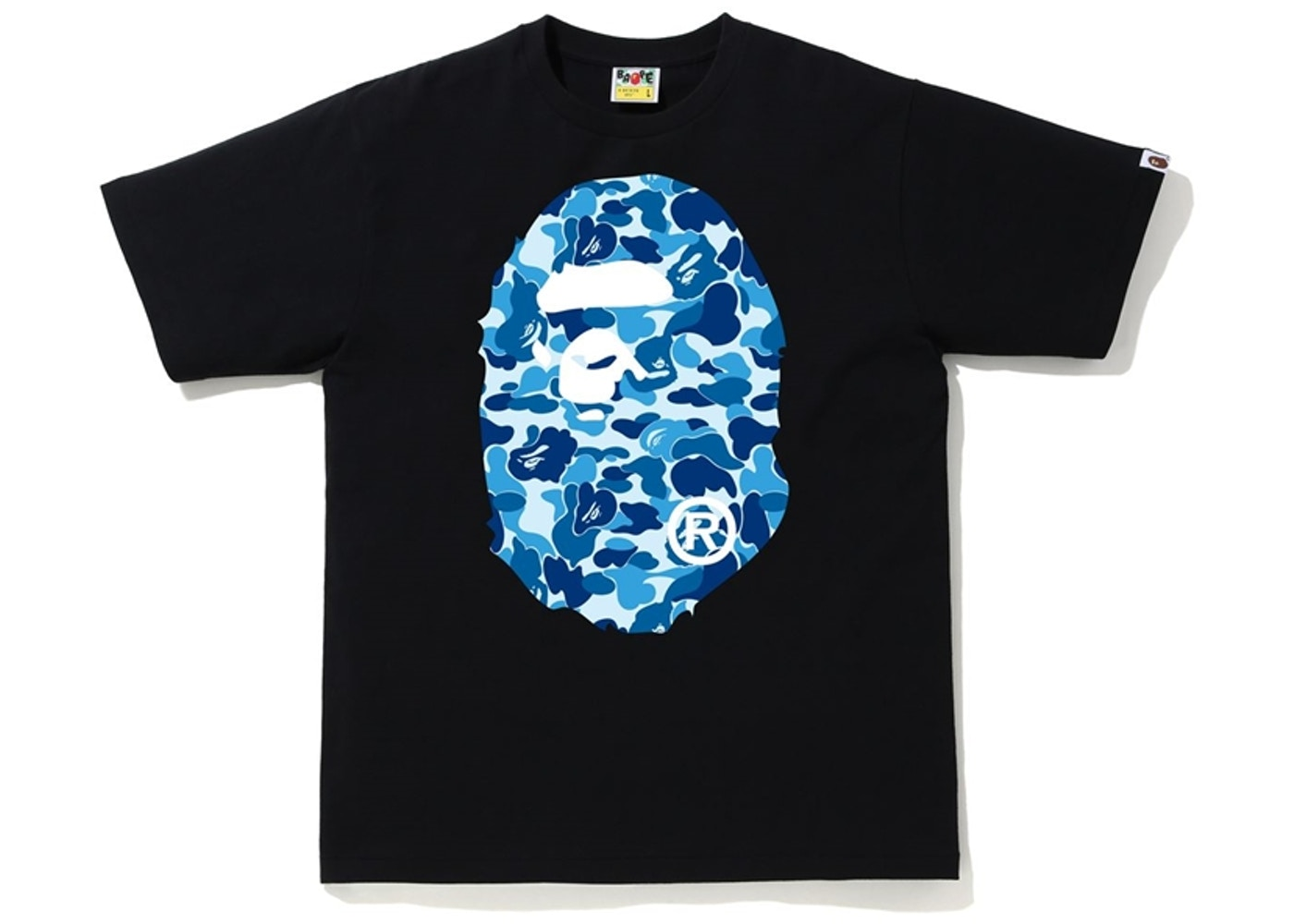 BAPE ABC Camo Big Ape Head Tee Black/Blue - SS20
