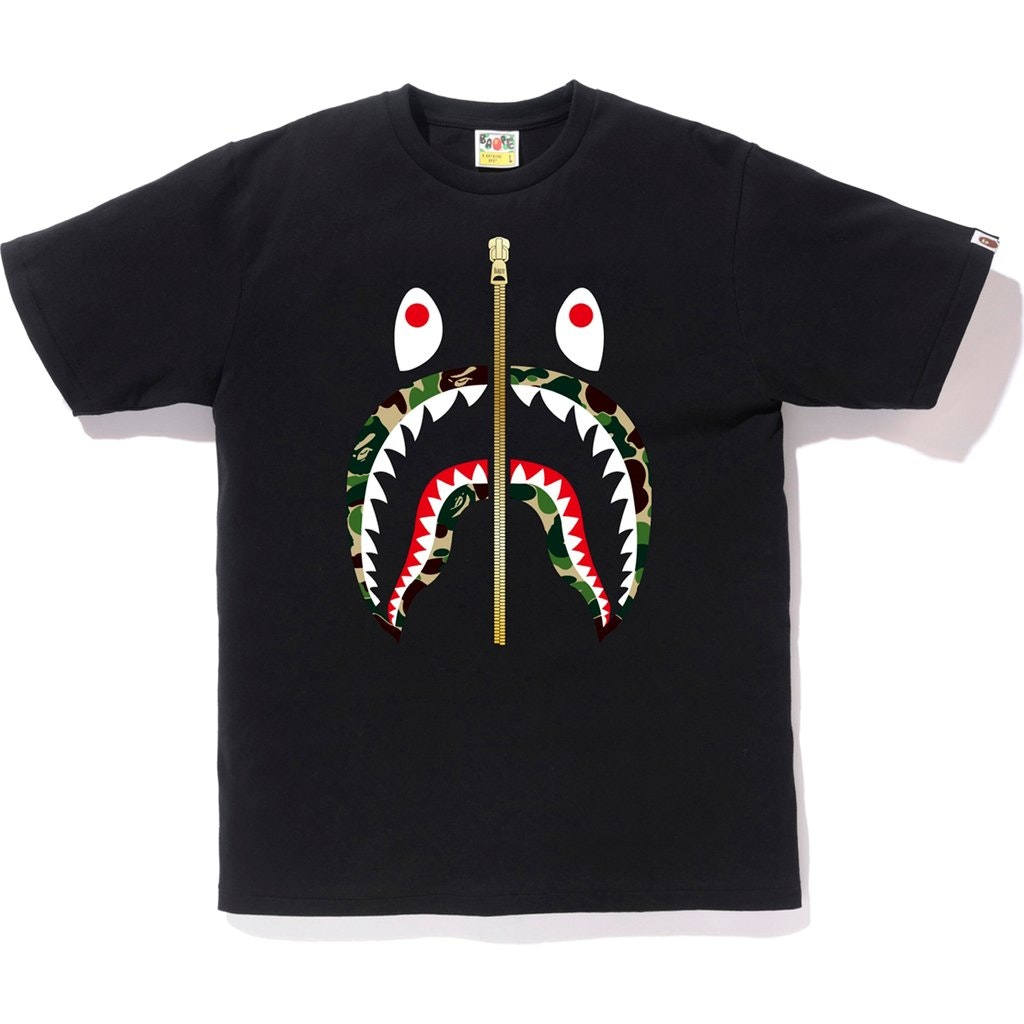 BAPE ABC Gold Zip Shark Tee Black/Green