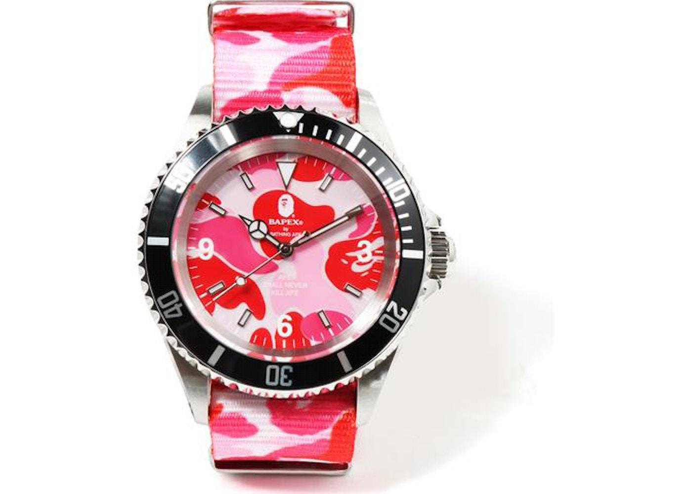 BAPE ABC Nato Belt Type 1 Bapex Watch Pink