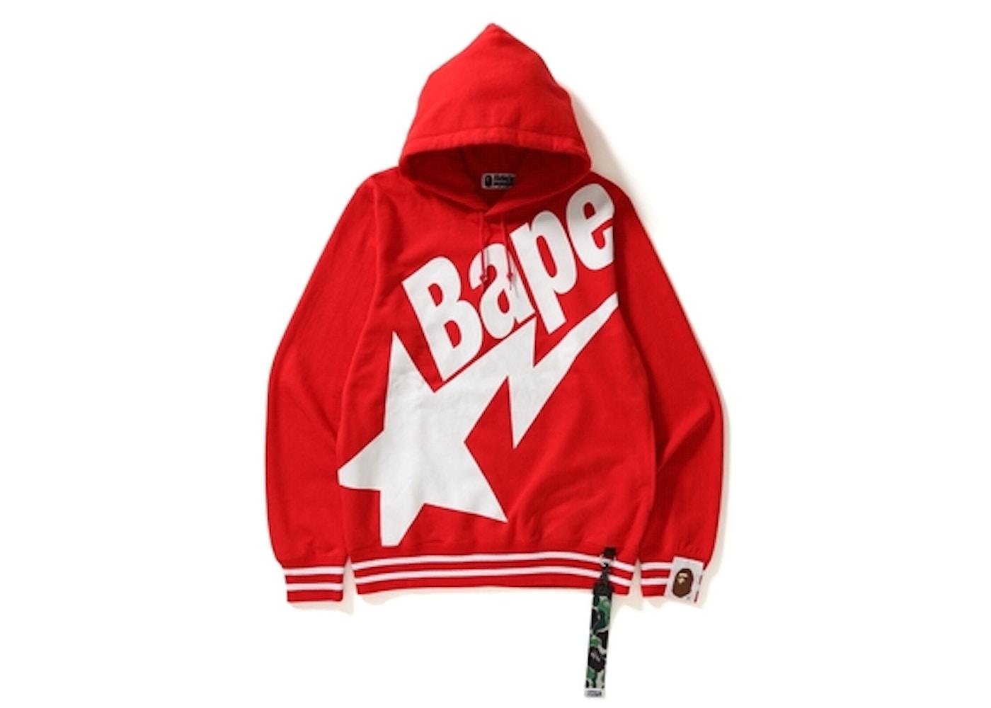 92df1693 BAPE Big Sta Pullover Hoodie Red -
