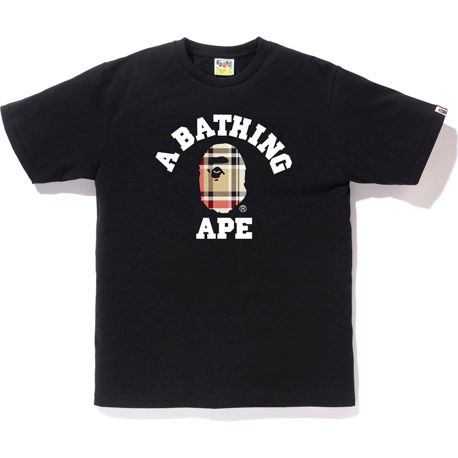 Bape Check College Tee Black/Beige by Stock X