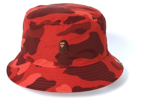 1fc047c8 BAPE Color Camo Ape Head One Point Bucket Hat Red