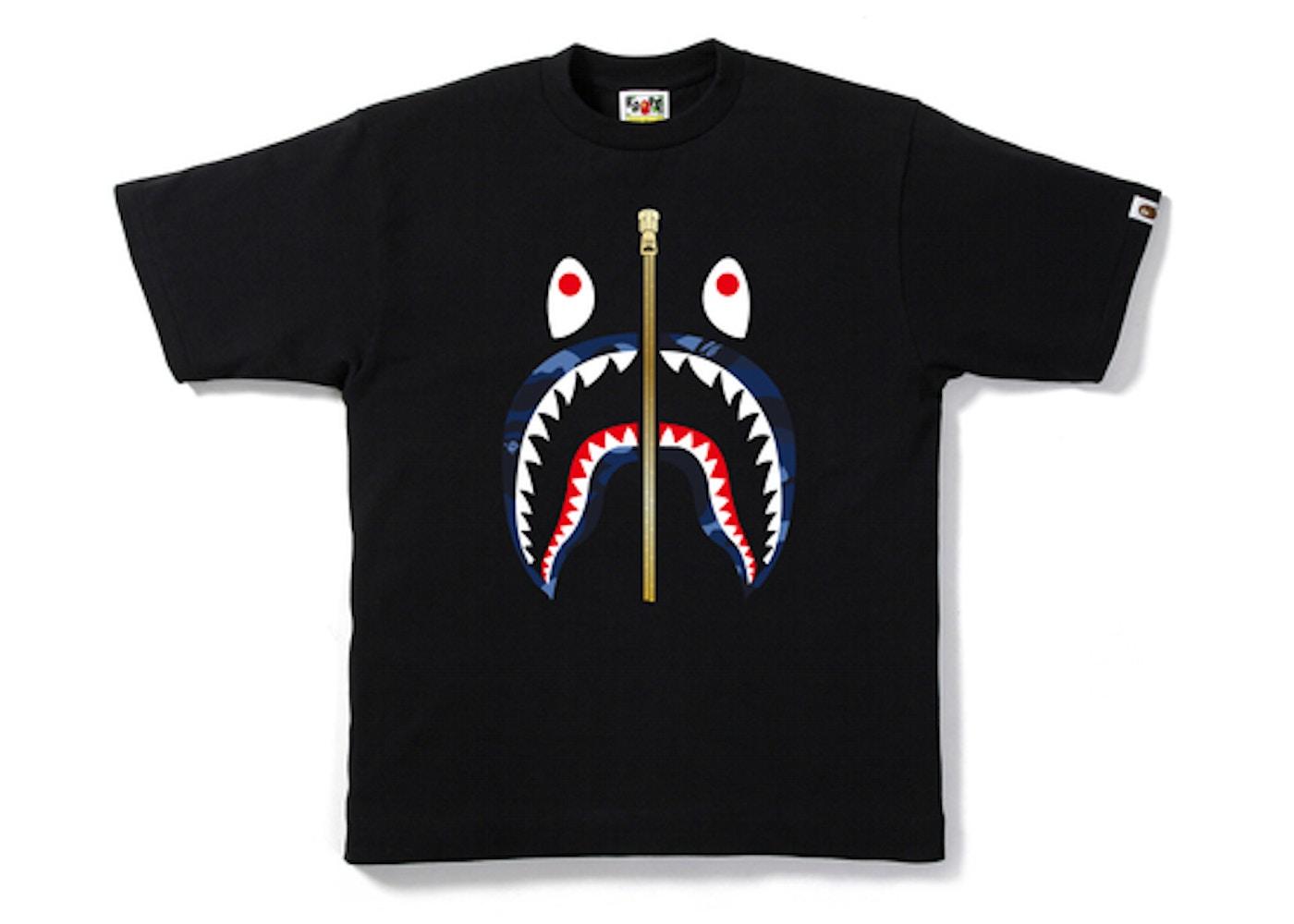 BAPE Color Camo Gold Zip Shark Tee Black Blue - SS19 1a8ca05ee78b