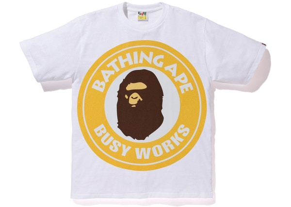 67f16a26 BAPE Colorful Pigment Busy Works Tee White/Yellow