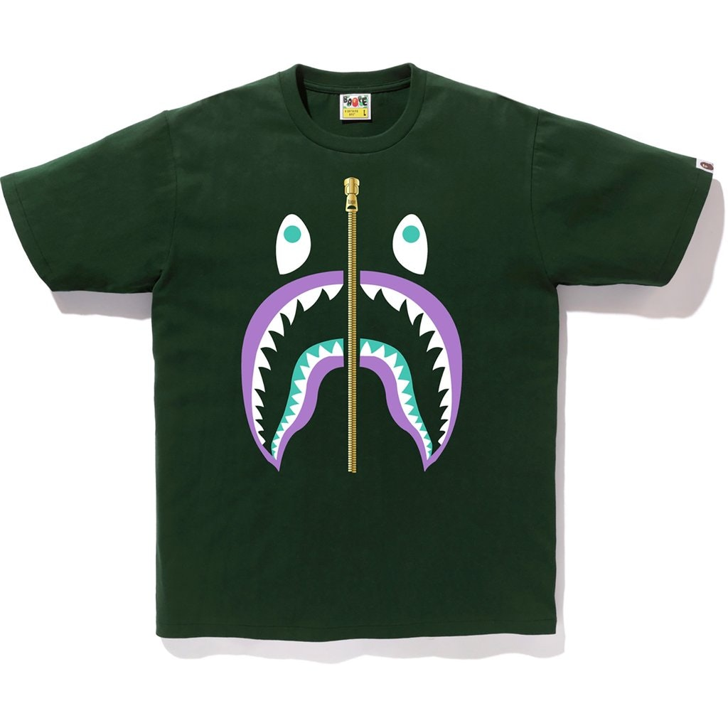 BAPE Colors Gold Zip Shark Tee (SS19) Green